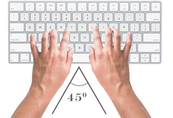 arm position while typing